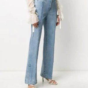 TORY BURCH High Rise Split Hem Flare Jeans